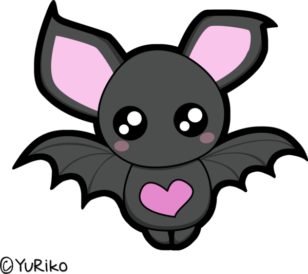 banner library Bats clipart kawaii. Cute bat by o.