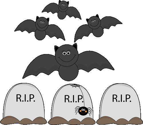 vector Bats Flying Over Graveyard Clip Art