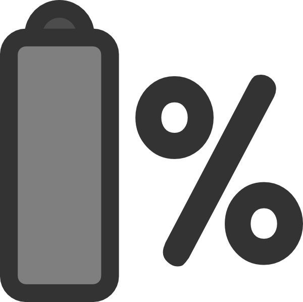 clip art black and white stock Battery Percentage Clip Art at Clker