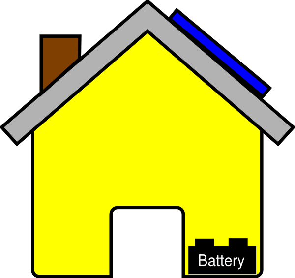 transparent download Yellow House With Solar Panel And Battery Clip Art at Clker