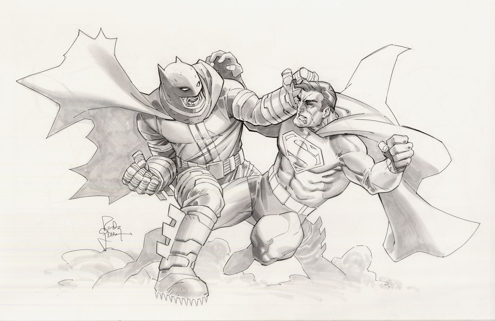 graphic Randy green dark knight. Battle drawing batman