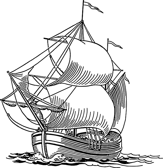 vector royalty free library Ship outline drawing at. Yacht clipart cabin cruiser