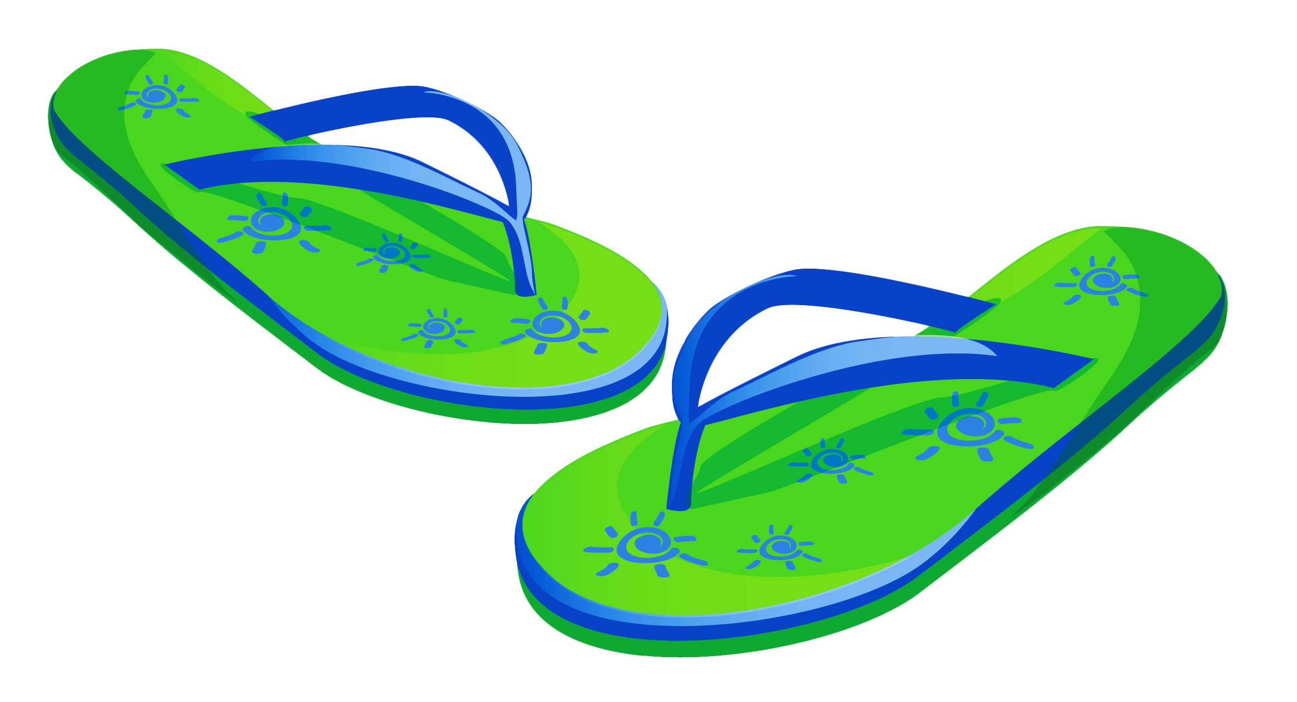 vector Beach clipart. Transparent green flip flops.