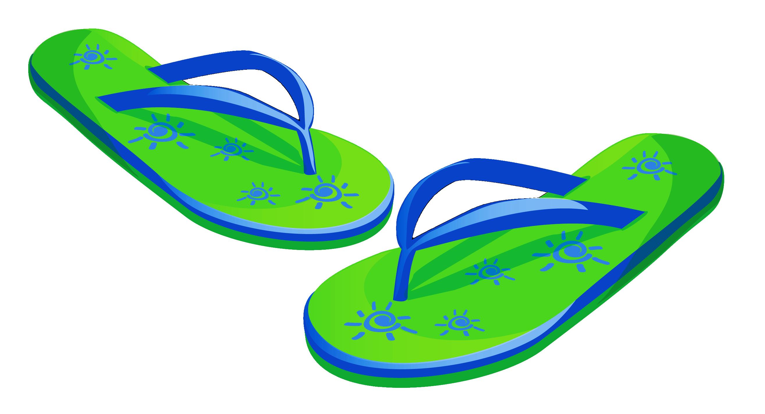 freeuse stock Flip flops clipart. Transparent green beach png.