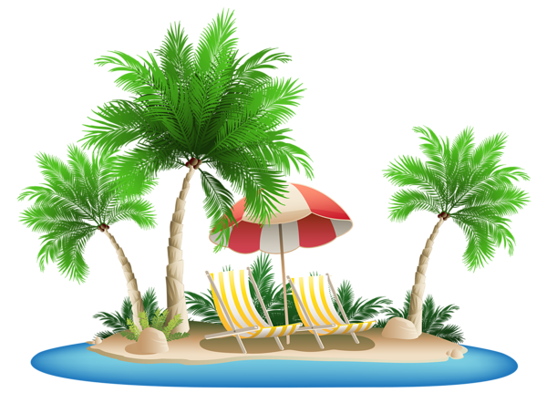 graphic free library Island clipart. Beach umbrella with chairs.
