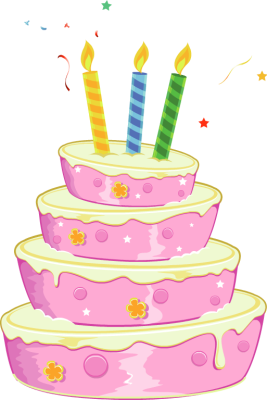 clipart black and white library Pink birthday . Beach clipart cake.