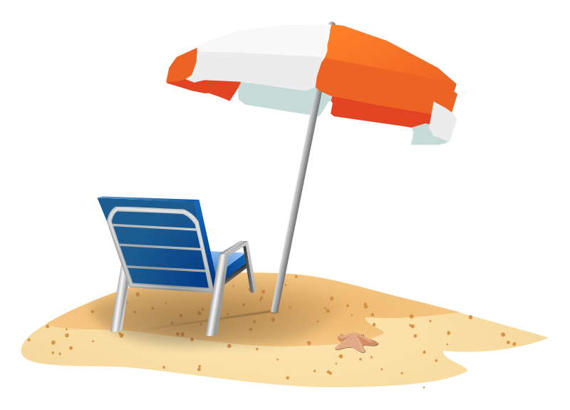 vector free stock Beach Vacation Clipart