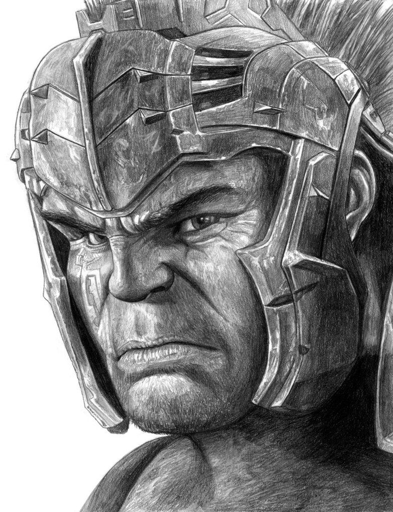 picture free library Hulk thor ragnarok by. Bean drawing gladiator