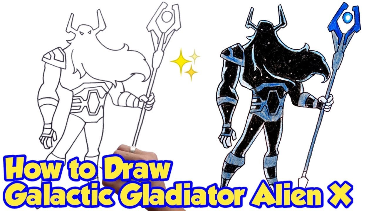black and white stock How to draw galactic. Bean drawing gladiator