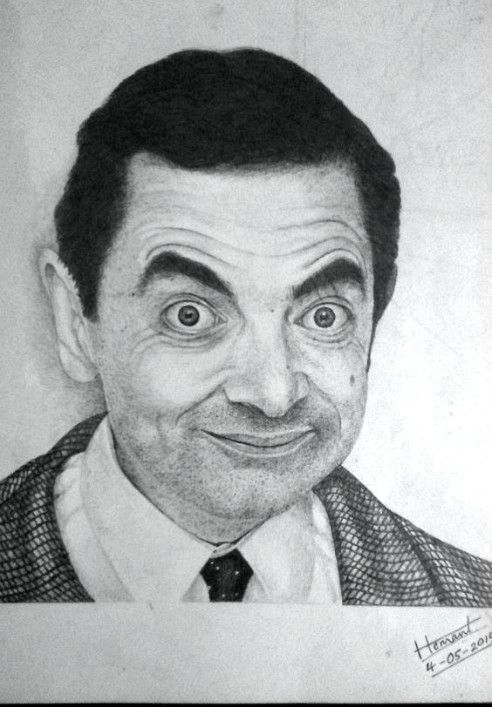 clipart free stock Bean drawing pencil. Rowan atkinson as mr