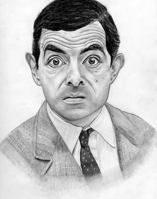 jpg black and white library Mr charcoal portrait my. Bean drawing pencil