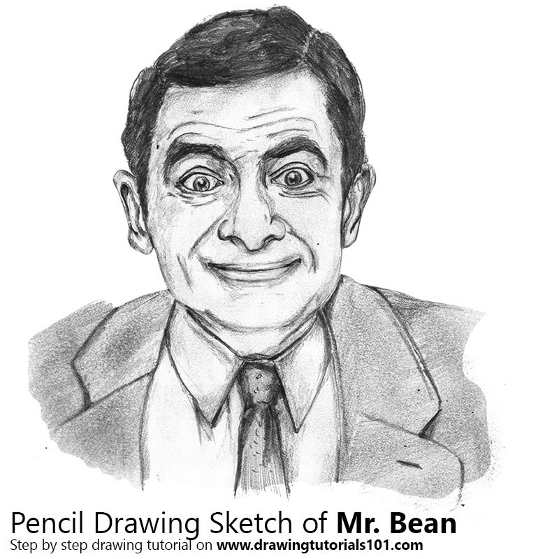 picture free library Mr how to sketch. Bean drawing pencil