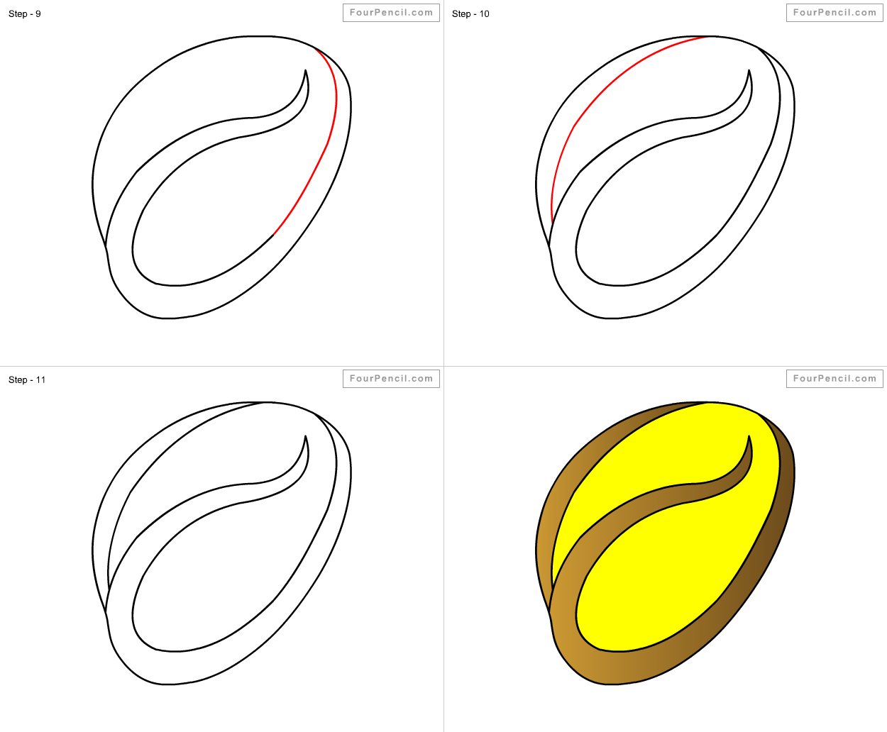 royalty free stock Bean drawing simple. How to draw for