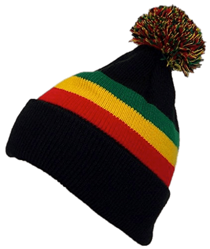 banner black and white Rasta winter hat png. Beanie transparent