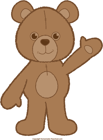clip library Teddy waving brown png. Baby bear clipart