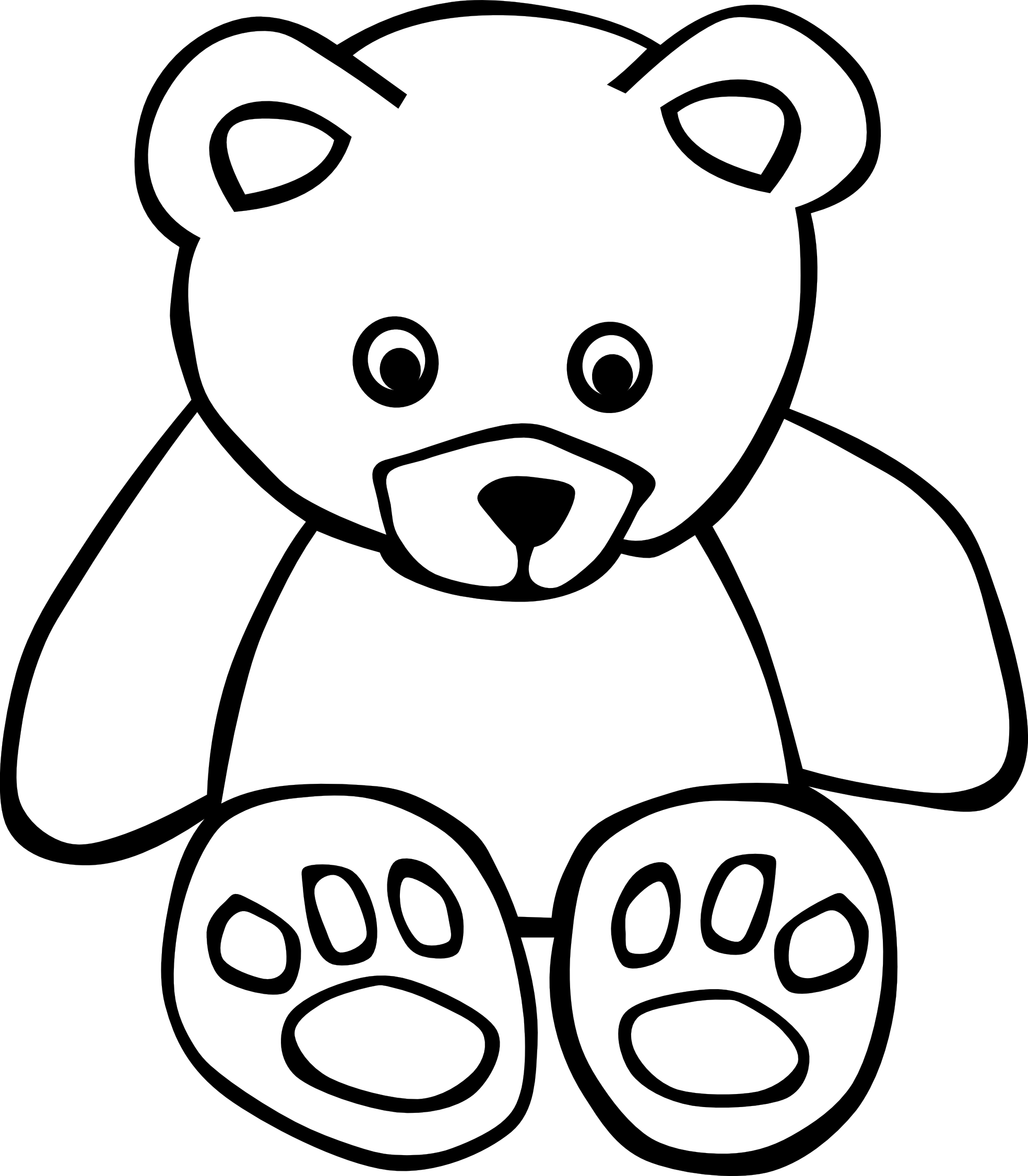 clip transparent library Bear clipart black and white. Teddy panda free images