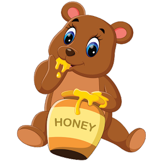 picture library Bear clipart eating. Baby honey from pot.