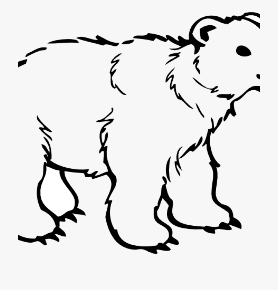 vector royalty free library Bear clipart outline. Black and white clip