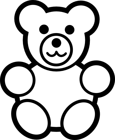 picture black and white Drawn teddy free on. Bear clipart outline