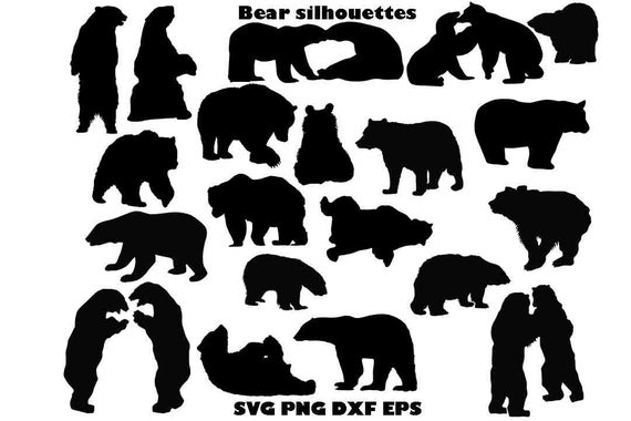 svg library stock Svg dxf vector cut. Bear clipart silhouette