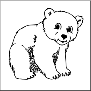 png royalty free download Bear cub clipart black and white.