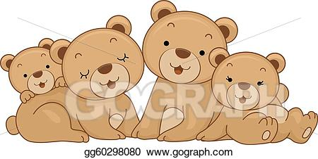 graphic freeuse library Bear family clipart. Eps vector stock illustration