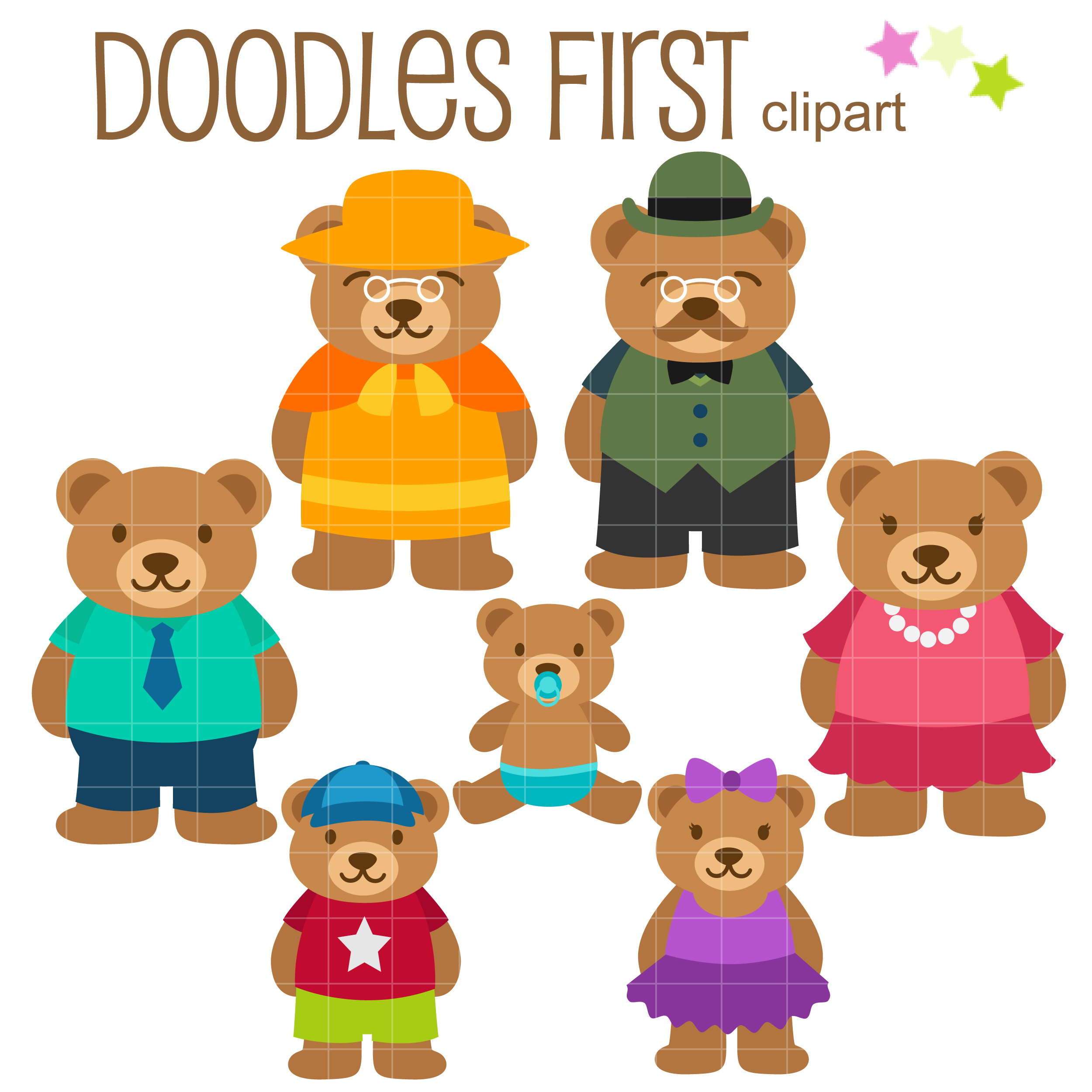 clip library library Clip art set . Bear family clipart