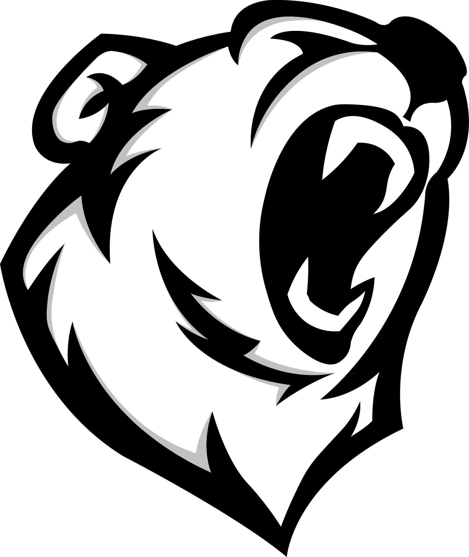 png black and white X making the web. Bear mascot clipart
