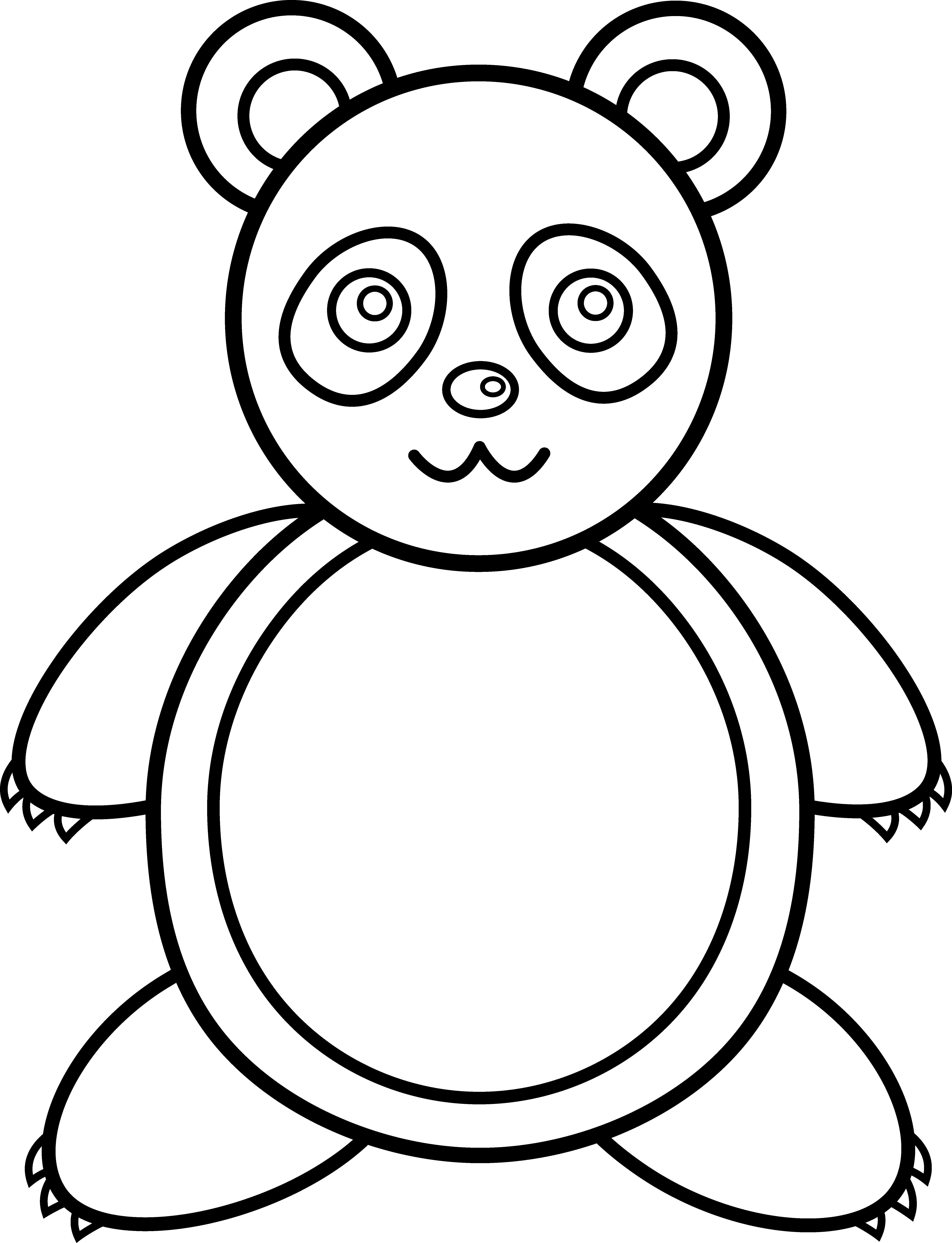 image library stock Bear outline clipart. Panda line art free