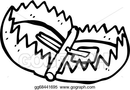 clip art black and white library Bear trap clipart. Vector art cartoon drawing
