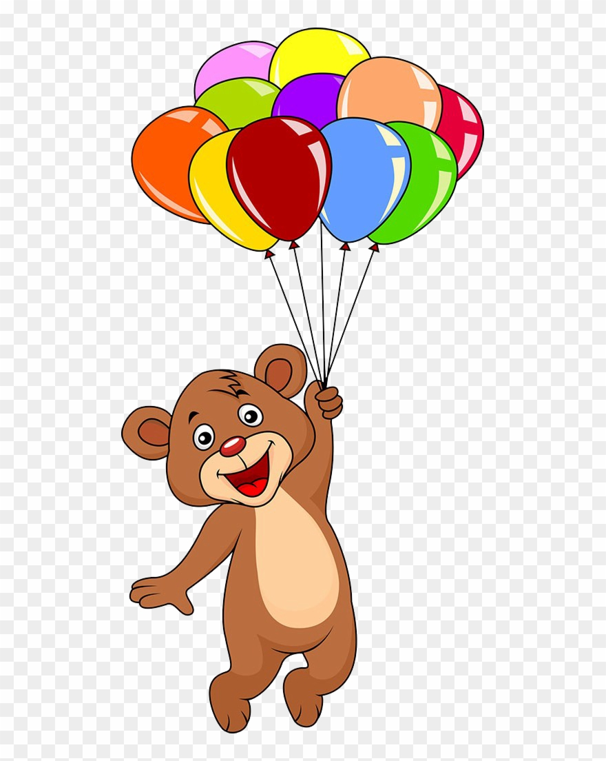 vector transparent library Graphic free download cute. Bear with balloons clipart