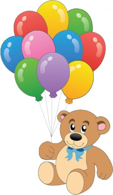 clip royalty free Teddy colorful vector . Bear with balloons clipart