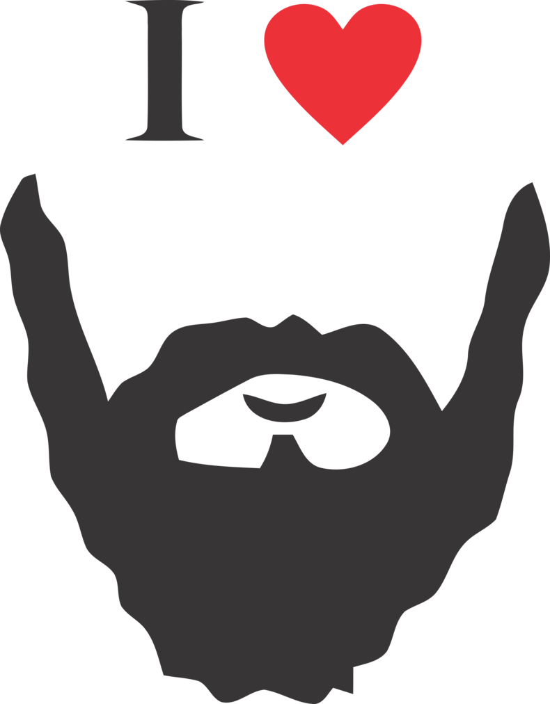 clip black and white library I love png by. Beard clipart bearded man