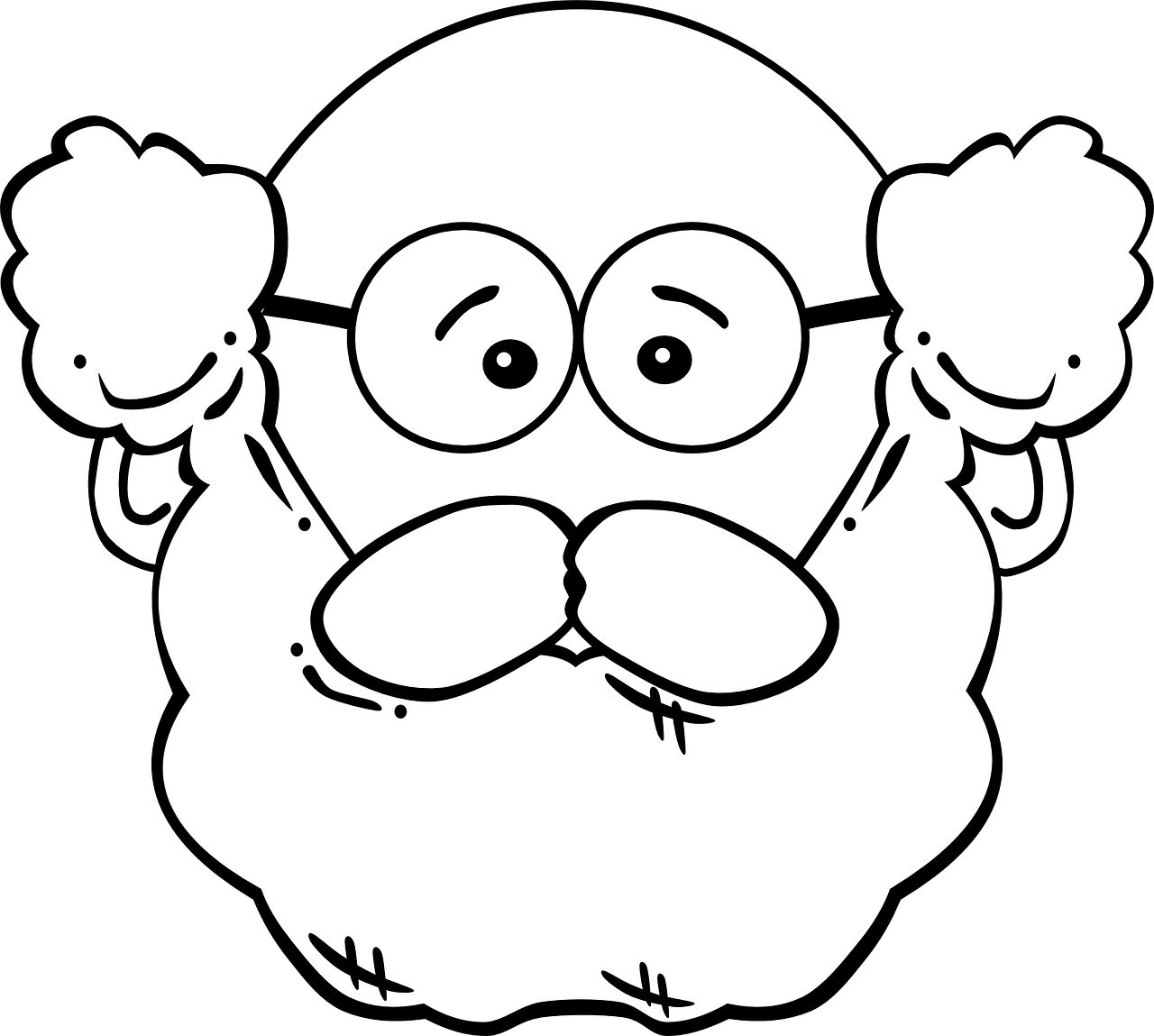 image royalty free Man old face head. Beard clipart big