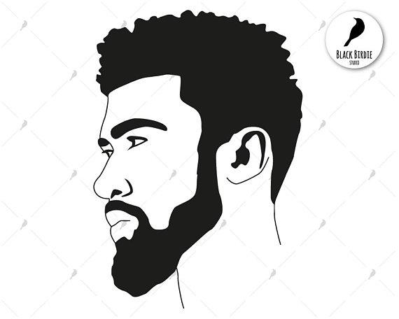 image Black man svg . Beard clipart boy