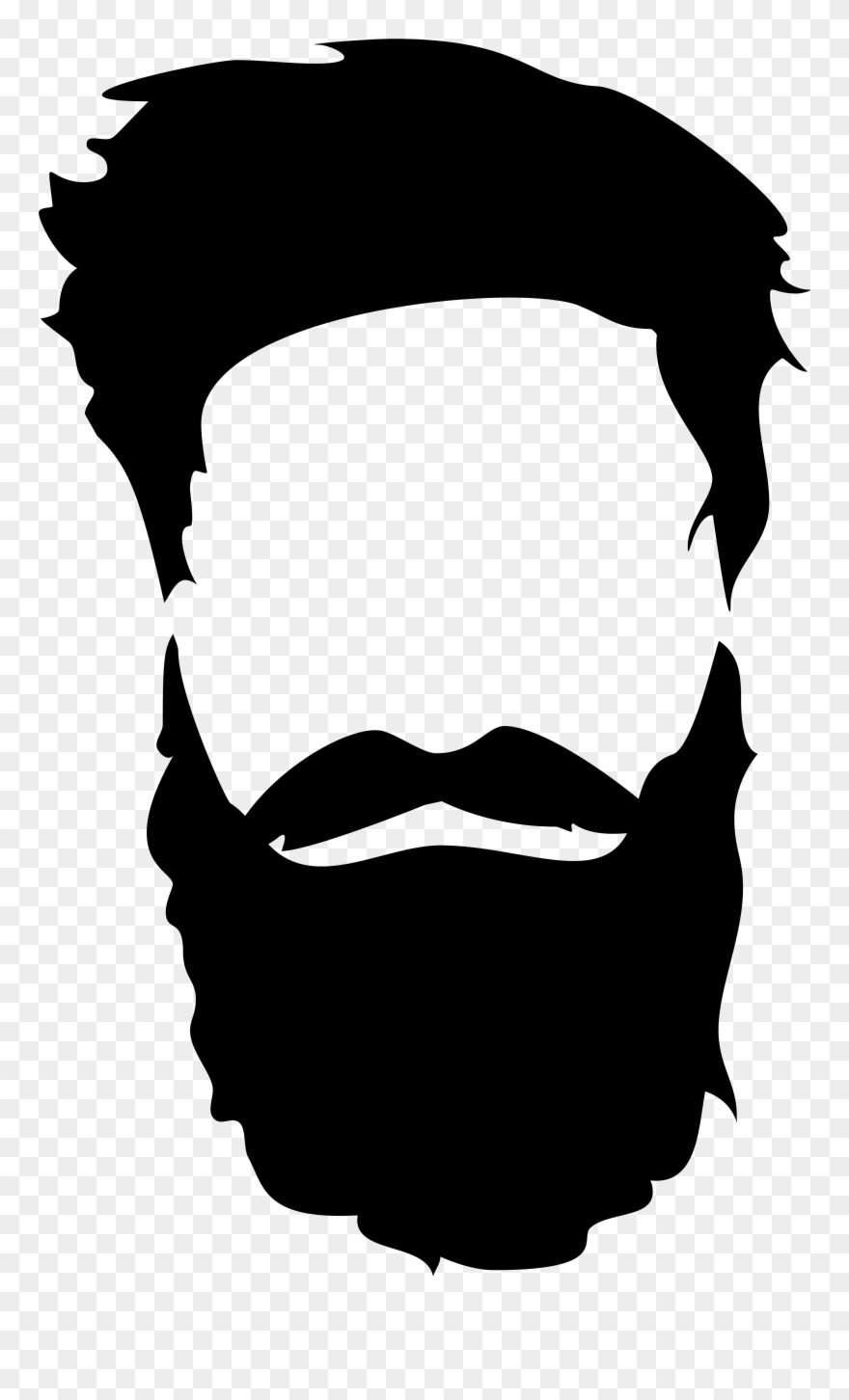 vector black and white Beard clipart dark glass. Hair png clip art