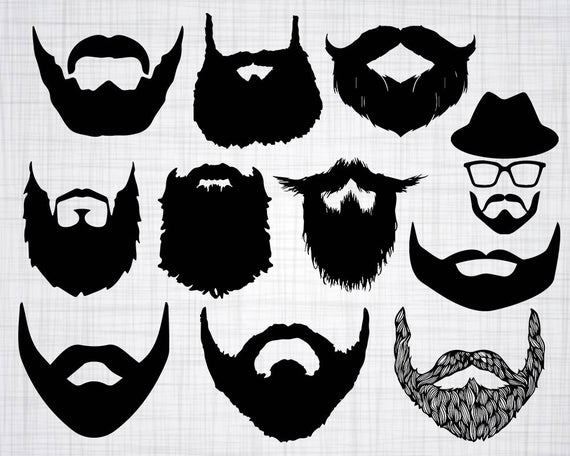 banner black and white download Beard clipart design. Svg bundle cut files