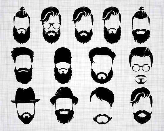 graphic free library Man svg bundle face. Beard clipart design