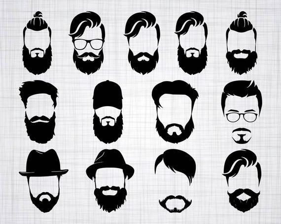 vector royalty free Man svg bundle cut. Beard clipart face.