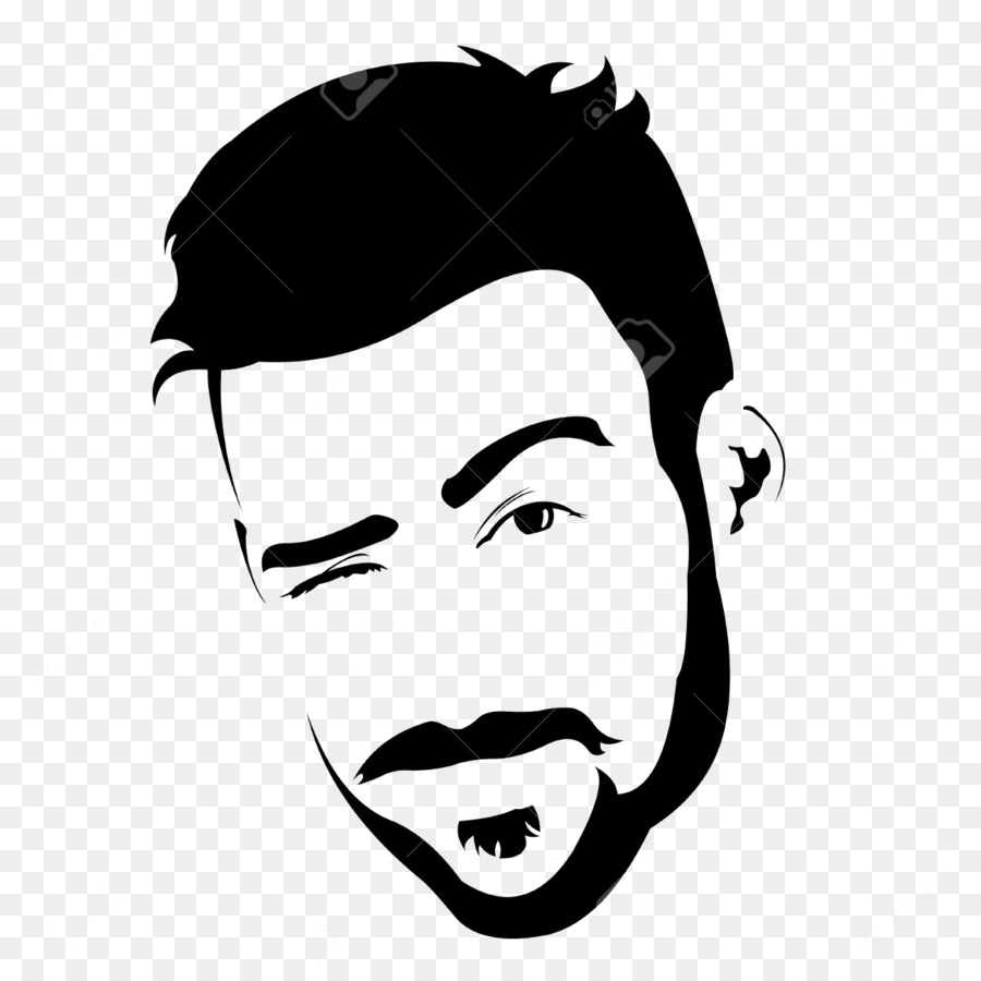 png black and white Beard clipart face. Moustache cartoon man illustration.