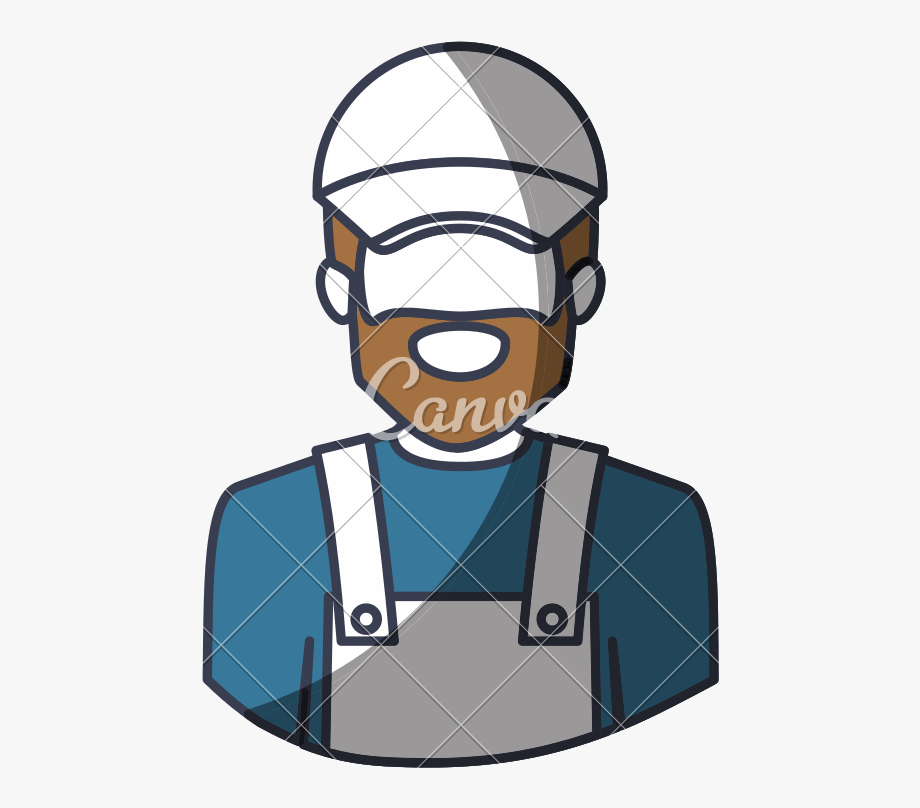 black and white stock Bearded delivery man cartoon. Beard clipart faceless