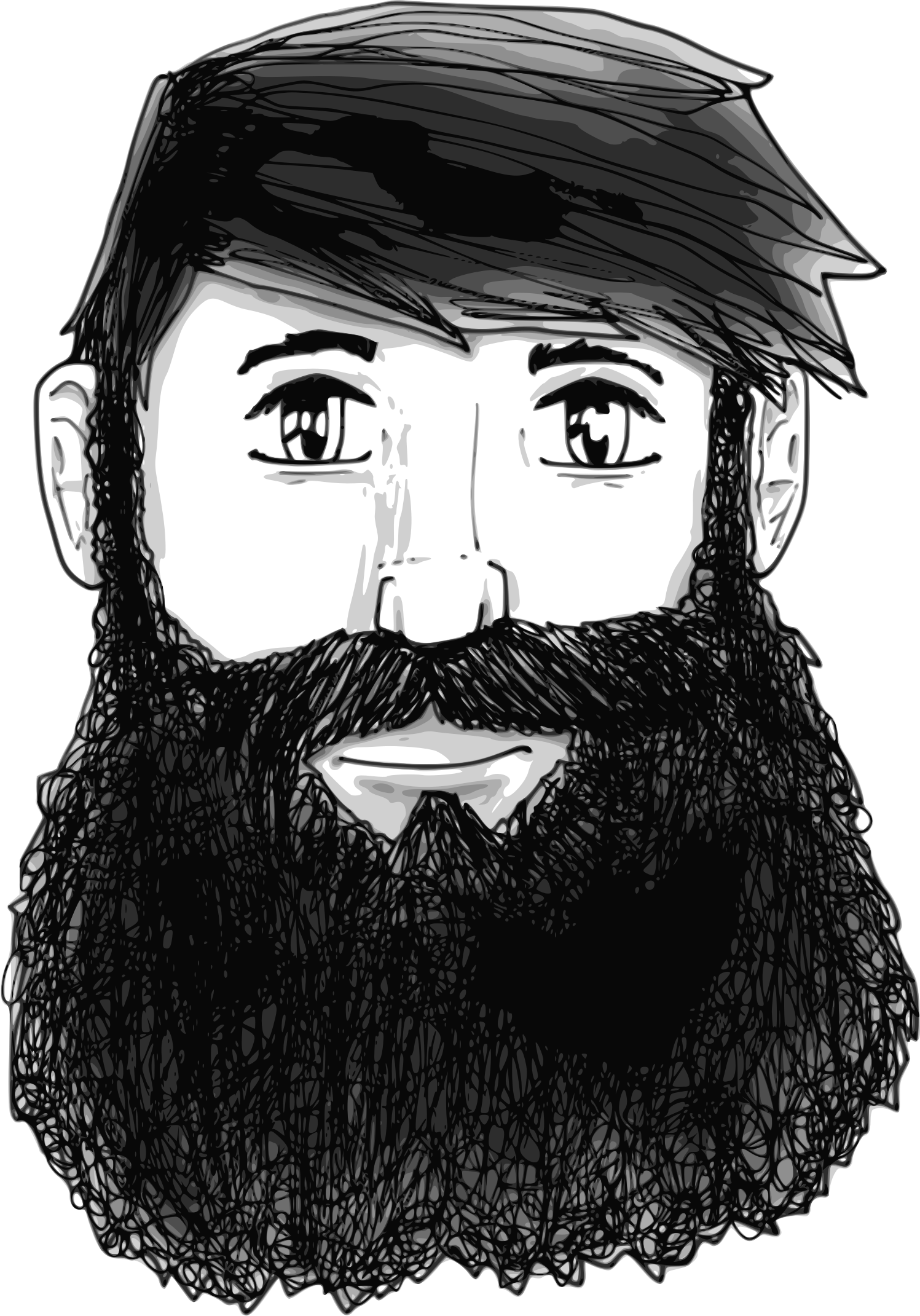 graphic black and white library Beard clipart guy. A with big image