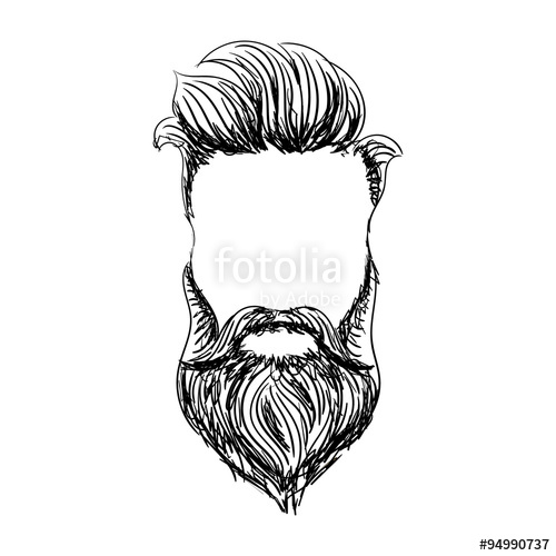 svg black and white library Beard clipart hand drawn. Style hipster mustache and