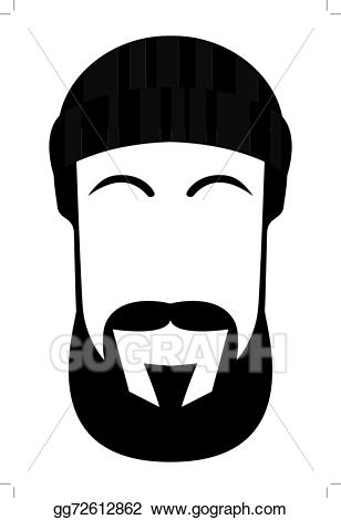 svg Beard clipart hand drawn. Vector face of a
