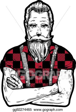 royalty free Vector stock man with. Beard clipart hand drawn