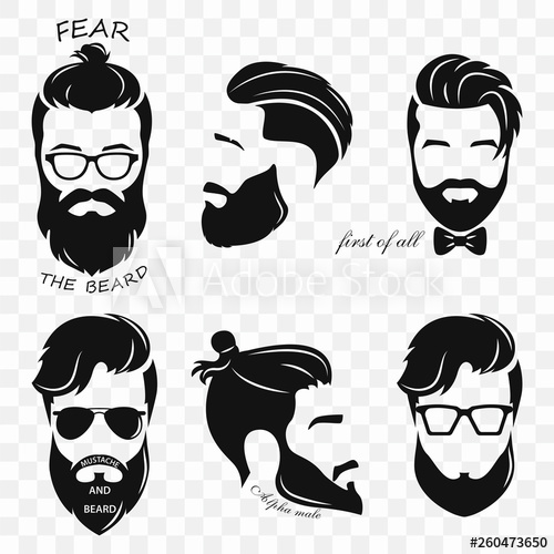 picture black and white stock Set of different silhouettes. Beard clipart hipster haircut