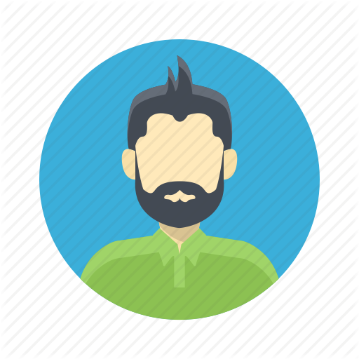 jpg black and white library Male users by flat. Beard clipart illustration