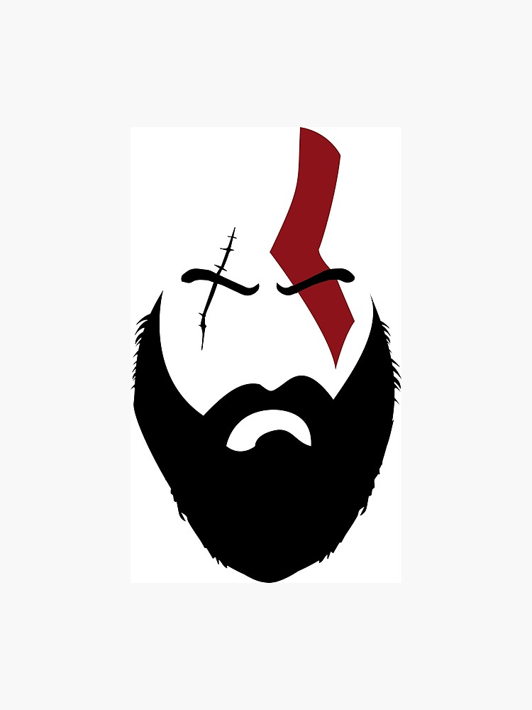 clip black and white library God of war photographic. Beard clipart kratos.