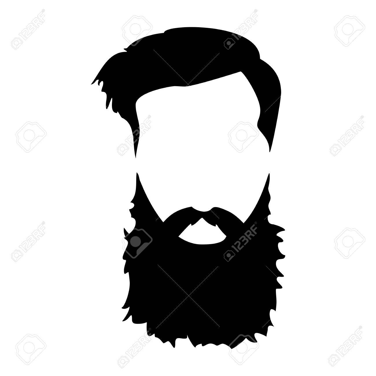 graphic Hipster detailed hair and. Beard clipart long