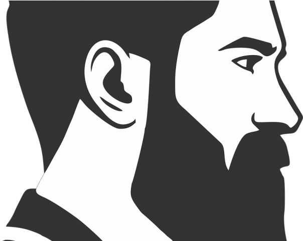 svg black and white download Black and white download. Beard clipart man bun
